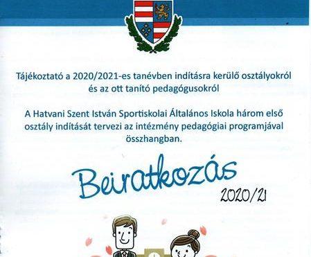 2020/2021-es tanévre történő beiratkozás
